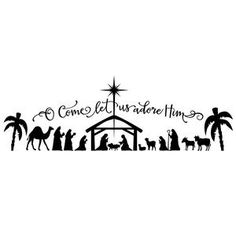 Silhouette Design Store: o come let us adore him large nativity
