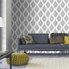 Kelly Hoppen Ikat Wallpaper, Soft Grey & White | ACHICA