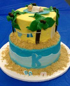 K is for Kaden...K..K..K...  Beach and surf themed baby shower cake. Kaden will be here soon!
