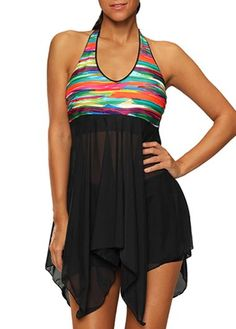 Halter Mesh Panel Long Tankini Swimsuit
