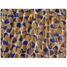 un joli imprimé dans des teintes moutarde et bleu ....