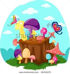 illustration of mushrooms and butterflies with tree stump