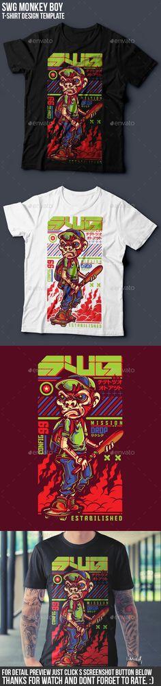 SWG Monkey Boy #T-Shirt Design - Funny #Designs Download here: https://graphicriver.net/item/swg-monkey-boy-tshirt-design/17677520?ref=alena994