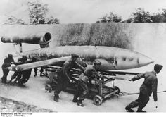 "The Fieseler Fi 103 (better known as the Vergeltungswaffe 1 (""retaliation weapon""), or simply, the V-1, was what would today be considered a cruise missile. It was designed and built by the Gerhard Fieseler Werke GmbH. Construction of the missiles was very simple and it was mass produced at a rate of about 8,000 per month. The V-1 is an unmanned mid-wing monoplane."