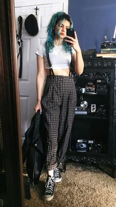 White crop top with plaid trousers with suspenders & Vans shoes by athousandchapters
