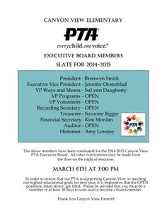 Pta meeting agenda template google search ptso ideas pinterest pta elections nomination slate for 2014 2015 parent groups stopboris Image collections