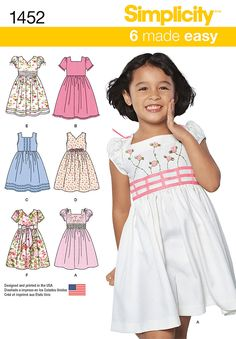 S1452 Child's Dress with Bodice & Sleeve Variations