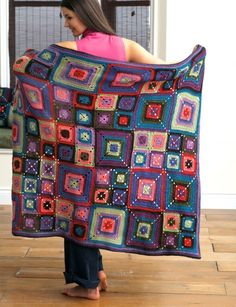 Patons Bright Squares Blanket and Pillow, Crochet Pattern   Yarnspirations