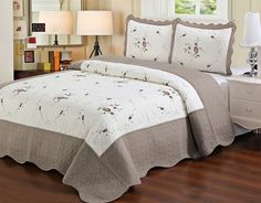 "Laura's Lace ""Chelsea"" 3 Piece Embroidered Quilt Coverlet Set - 10 Colors"
