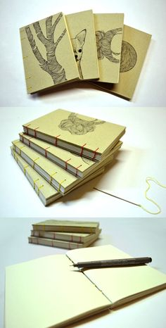 Christmas and new year's gift, notebooks DIY, coptic binding -  www.facebook.com/annaortizillustration