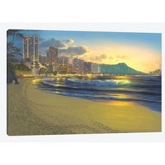 """East Urban Home 'Waikiki Sunrise' by Al Hogue Painting Print on Wrapped Canvas Size: 18"""" H x 26"""" W x 1.5"""" D"""