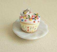 Polymer Clay Food Jewelry Funfetti Cupcake Pendant by fairchildart, $26.00