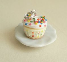 Polymer Clay Food Jewelry Funfetti Cupcake Pendant by fairchildart, $26.00