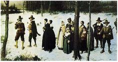 "Painting: ""Pilgrims Going to Church"" by George Henry Boughton, 1867. Source: Wikimedia Commons. Read more on the GenealogyBank blog: ""Tough First Winter for Our Mayflower Ancestors"" https://blog.genealogybank.com/tough-first-winter-for-our-mayflower-ancestors.html"