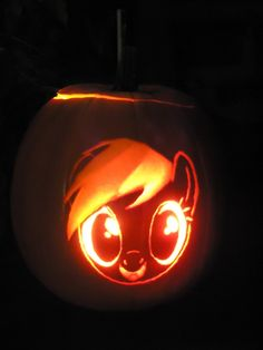 Rainbow Dash Pumpkin by Scoutaloo on DeviantArt Halloween Crafts, Halloween Party, Halloween Decorations, Pumpkin Stencil, Pumpkin Carving, Raimbow Dash, Nightmare Night, Pumpkin Ideas, Hallows Eve