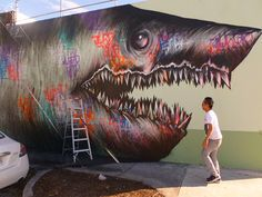finished shark toof mural in miami