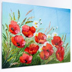 """DesignArt 'Poppies in Field against Blue Sky' Painting Print on Metal Size: 12"""" H x 28"""" W x 1"""" D"""