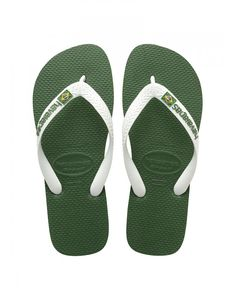 Green Havaianas Men's Brasil Logo Flip Flops - Amazonia