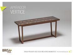 APARADOR VÉRTICE - Peça em madeira jequitibá e vidro encaixado. #momentobrisacasa