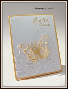 Stampin' Up! ... handmade Easter card ... white and yellow ... lacy die cut butterfly on embossing folder textured background ...