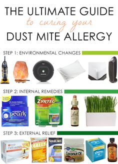 Allergy Remedies The Ultimate Guide to Curing Your Dust Mite Allergy - My path to allergy freedom with personal suggestions of home remedies and environmental changes for allergy relief what did and didn't work for me. Asthma Remedies, Cold Home Remedies, Natural Home Remedies, Health Remedies, Asthma Symptoms, Herbal Remedies, Natural Allergy Remedies, Holistic Remedies, Natural Remedies