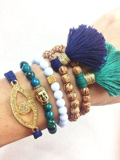 Bead bracelets w/added tassels - - - Navy and Teal Boho Bracelet Stack with Buddha Evil por dAnnonEtsy, $42.00