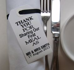 Wedding Napkin Holders-Wedding Table Decor-Elegant WhiteTags-Thank You for Sharing Our First Meal-Set of 20-Unique Wedding Favors