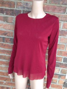 BABETTE Double Layer Top Size M 100% Nylon Mesh Long Sleeve Women Red #Babette #KnitTop #Casual