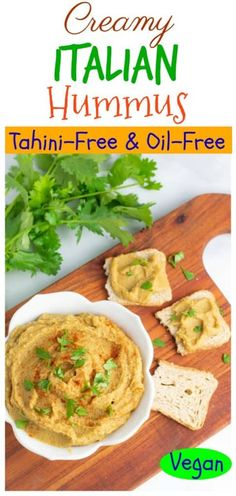 This low-fat Italian Vegan Hummus is delicious on sandwiches, in wraps, or served with fresh vegetables and pita bread. It's completely oil and tahini-free, so the calories and fat per serving are very low. #veganhummus #oilfreehummus #plantbasedsnack #vegansnack #chickperecipe Vegan Recipes Easy, Lunch Recipes, Whole Food Recipes, Diet Recipes, Vegan Hummus, Hummus Recipe, Vegan Appetizers, Vegan Snacks, Finding Vegan