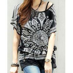 Ethnic Style escote redondo Batwing mangas Camiseta de la impresión para las mujeres para Vender - La Tienda En Online IGOGO.ES