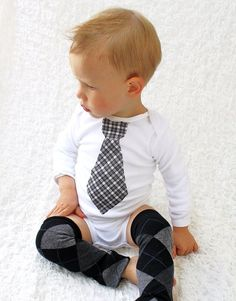 Black and White Plaid Argyle Baby Boy Tie by ChicCoutureBoutique, $24.95