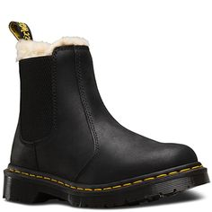 Martens Leonore Fur Lined Chelsea Boot - Black/Black Burnished Wyoming 4 White Doc Martens, Doc Martens Style, Doc Martens Outfit, Doc Martens Boots, Dr. Martens, Thing 1, Black Chelsea Boots, Shoe Company, Fur Boots