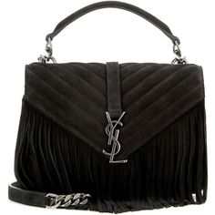 Saint Laurent Classic Monogram Fringed Suede Shoulder Bag ($1,910) ❤ liked on Polyvore featuring bags, handbags, shoulder bags, black, fringe handbags, monogrammed purses, shoulder bag handbag, suede shoulder bag and suede handbags
