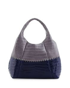 Your Tone Has Changed! Nancy Gonzalez Two-Tone Stitched Tote Bag, Gray/Navy Colour Blocking Casual Leather Designer Fashion Accessory Hair Makeup Dress  shoulder bag  bergdorfgoodman.com