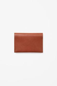 COS image 3 of Folded leather cardholder in Beige Dark