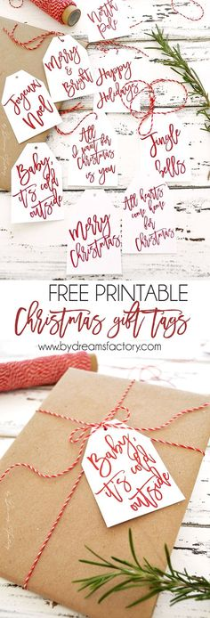 Free printable Christmas gift tags a simple but beautiful last minute touch you need to add to your Christmas presents this year by Dreams Factory bydreamsfactory Christmas Gift Wrapping, Diy Christmas Gifts, Christmas Decorations, Christmas Present Tags, Christmas Ideas, Holiday Gift Tags, Christmas Present Last Minute, Christmas Tags To Print, Handmade Christmas