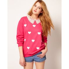 Johann Earl Lace Collar Sweater In Heart Print ❤ liked on Polyvore