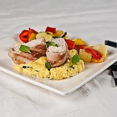 Bacon wrapped chicken and polenta recipe #bacon