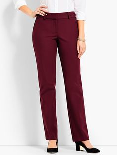 Polished Twill Straight-Leg Pant - Curvy Fit | Talbots