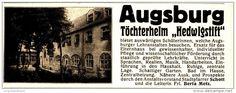 Original-Werbung/Inserat/ Anzeige 1916 - AUGSBURG TÖCHTERHEIM HEDWIGSTIFT - ca. 115 x 45 mm