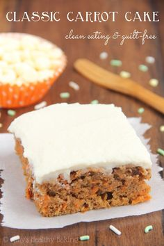 NOT SUGAR FREE: Classic Carrot Cake -- a healthy & easy, no-mixer-required recipe. The BEST one I've ever eaten! It even has no butter, refined flour or sugar! Healthy Cake Recipes, Healthy Baking, Healthy Desserts, Just Desserts, Baking Recipes, Delicious Desserts, Dessert Recipes, Clean Recipes, Carrot Cake Muffins Healthy