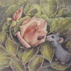 """Art by Lynn Bonnette: """"Mouse & Ladybug with Roses"""""""