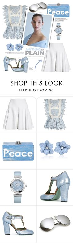 """""""Anything But Plain"""" by misshonee ❤ liked on Polyvore featuring Alaïa, self-portrait, Edie Parker, OMEGA and Paola d'Arcano"""