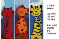 3 Peyote Patterns for bracelets : Three Cats INSTANT