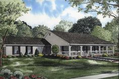 Country style house plan with wonderful Southern characteristics. Plan#153-1744