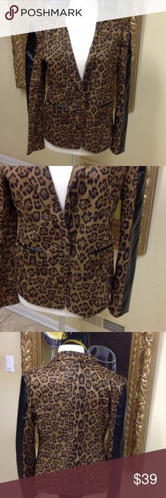 Max Mara Leopard Jacket Adorable leopard with faux leather sleeves blazer size L. One front button, classic style, low price. Jackets & Coats Blazers