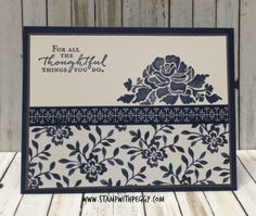 Have you checked out the product suites in this new catalog? There are some amazing combinations. This is one of my favorites as some of you already know. This suite is called Floral Boutique. It is on pages 76 & 77 of the new Annual Catalog -- so many beautiful new products. My card base is Night of Navy with a layer of Basic Gray and Whisper White. I added a strip of the Floral Boutique paper. I stamped the beautiful flower image with Night of Navy ink and the greeting in the upper lef...