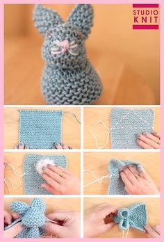 Knit up a square in the Garter Stitch to easily create the stuffed softie animal shape of a Bunny. These little cuties are quick knit favorites for beginning knitters. crochet crafts Knit a Bunny from a Square Easy Knitting Patterns, Knitting Stitches, Free Knitting, Free Crochet, Knit Crochet, Easy Knitting Ideas, Crochet For Baby, Round Loom Knitting, Knitted Doll Patterns