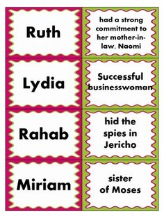 I'm going to be doing a women of the Bible series. This will be helpful. FREE women of the Bible matching game