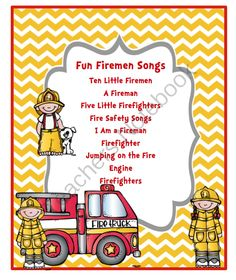 FREE Fun Fireman Song  from Preschool Printables on TeachersNotebook.com -  (7 pages)  - Fun Firemen Songs Ten Little Firemen A Fireman Five Little Firefighters Fire Safety Songs I Am a Fireman Firefighter Jumping on the Fire Engine Firefighters